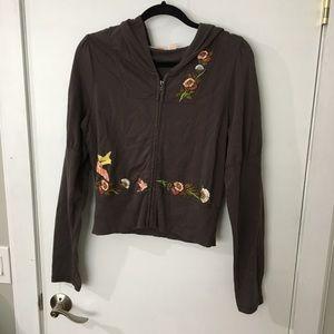 Anthropologie brown hooded zip up
